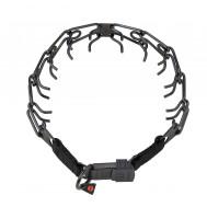Collar de púas de acero inox. negro HS 52 cm, extendible en 4 cm por cada eslabon adiccional
